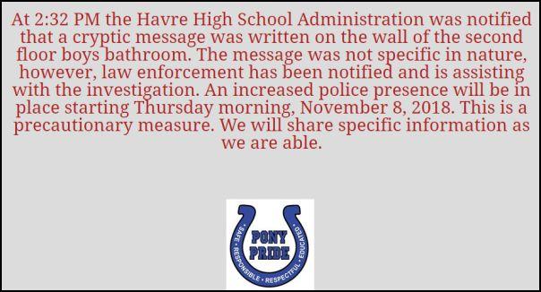 Message on the Havre Public Schools website.