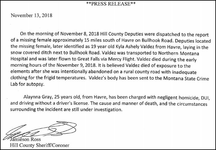 Press release from Hill County Sheriff's Office