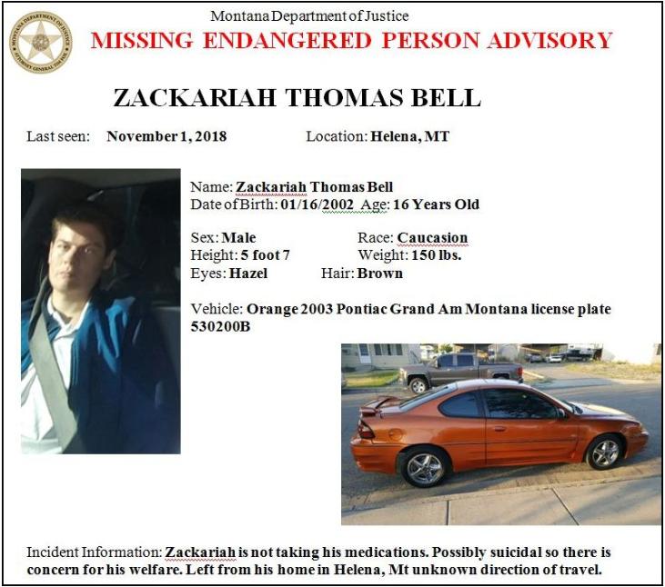 Zackariah Bell Missing Poster