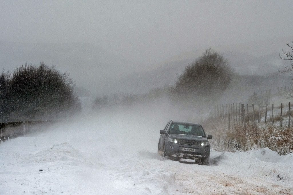 Car in snow storm