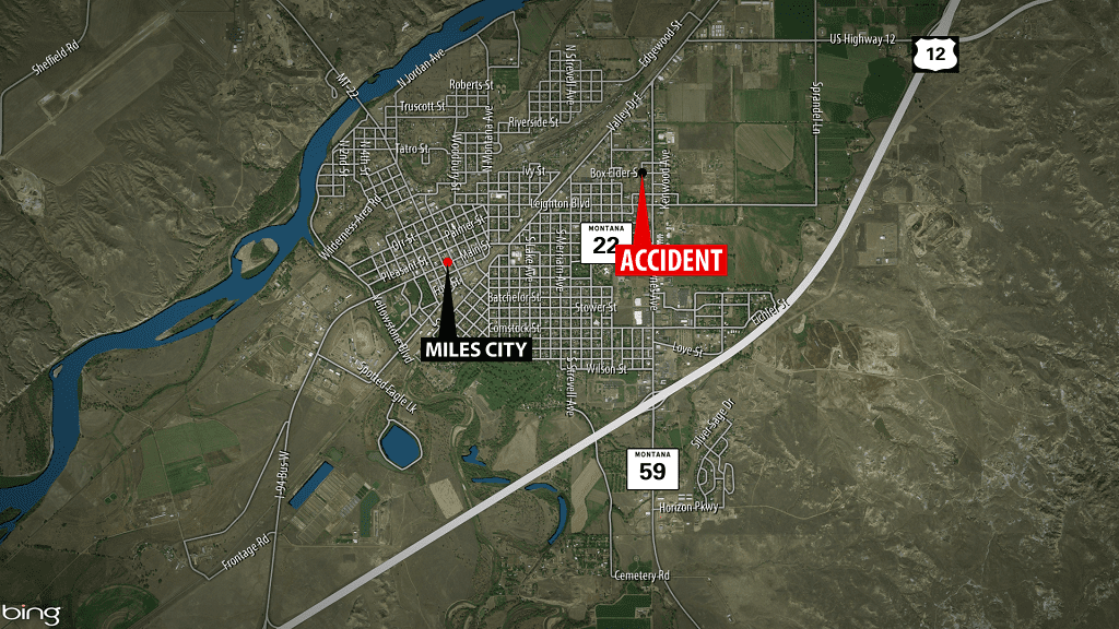 Miles City School Bus Accident Map