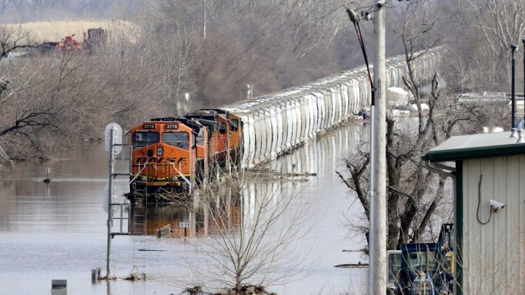 Train in Nebraska flood