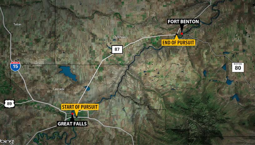 Great Falls pursuit reaches 120 mph, ends near Fort Benton